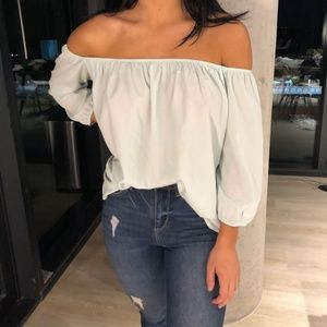 turquoise/ aquamarine top strapless top